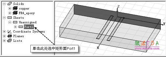 在 HFSS 软件中,与背景相接触的表面会被默认设置成理想导体边界,因此,介质层 Substrate 的四壁会自动设置成理想导体边界。这样,介质层的上下表面可以直接当作带状线结构的参考地,而不需要通过添加金属层或者设置理想导体边界条件的方式来添加带状线结 构的参考地。 由于波端口激励支持端口平移功能,且多个微带线/带状线可以共享一个端口,因此当需 要考虑微带线/带状线之间的耦合效应时,使用波端口激励的计算结果更加准确。对于差分结 构,只能使用波端口激励。 本例需要使用波端口激励方式;分别在模型的前表面和后