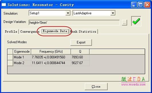 谐振频率和品质因数计算结果